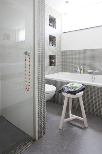 Modern bathroom white subway tile glass mosaic design pictures remodel decor and ideas also