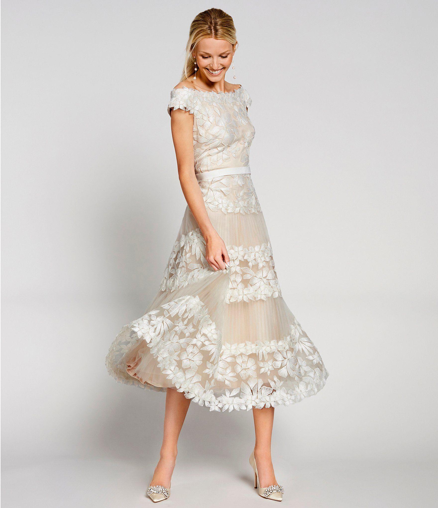 Tadashi Shoji Off The Shoulder Floral Embroidered Tulle A Line Midi Dress Dillard S Mother Of Groom Dresses Midi Wedding Dress Brides Mom Dress [ 2040 x 1760 Pixel ]