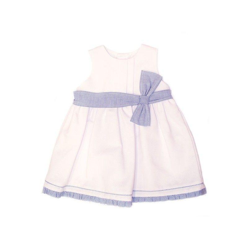 Vestido blanco con lazo azul Elisa Menuts
