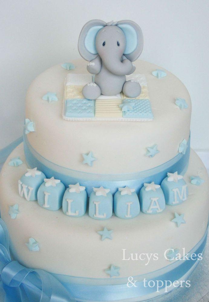 Boys Edible Elephant Cake Topper Decoration Set Christening Birthday