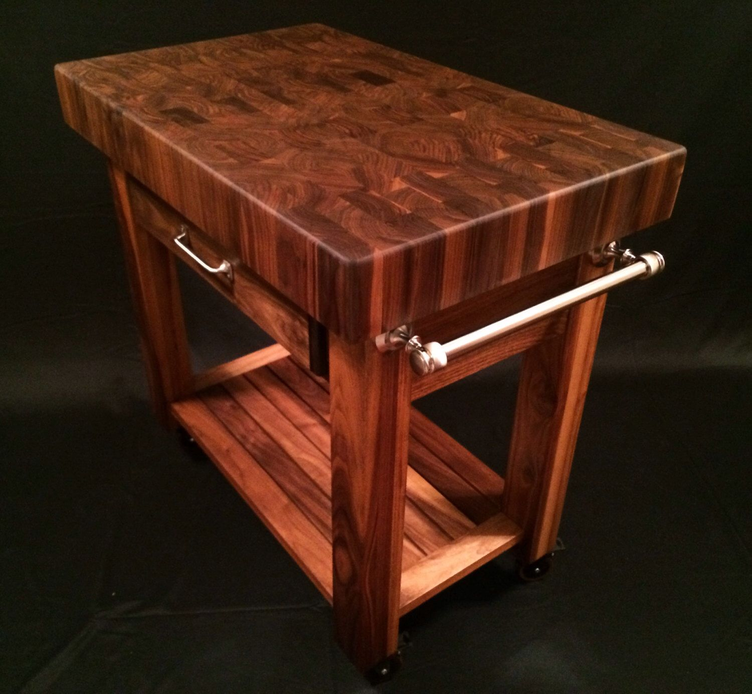 Beautiful Black Walnut End Grain Butcher Block Kitchen Cart By Magnoliawoodworks On Etsy Https