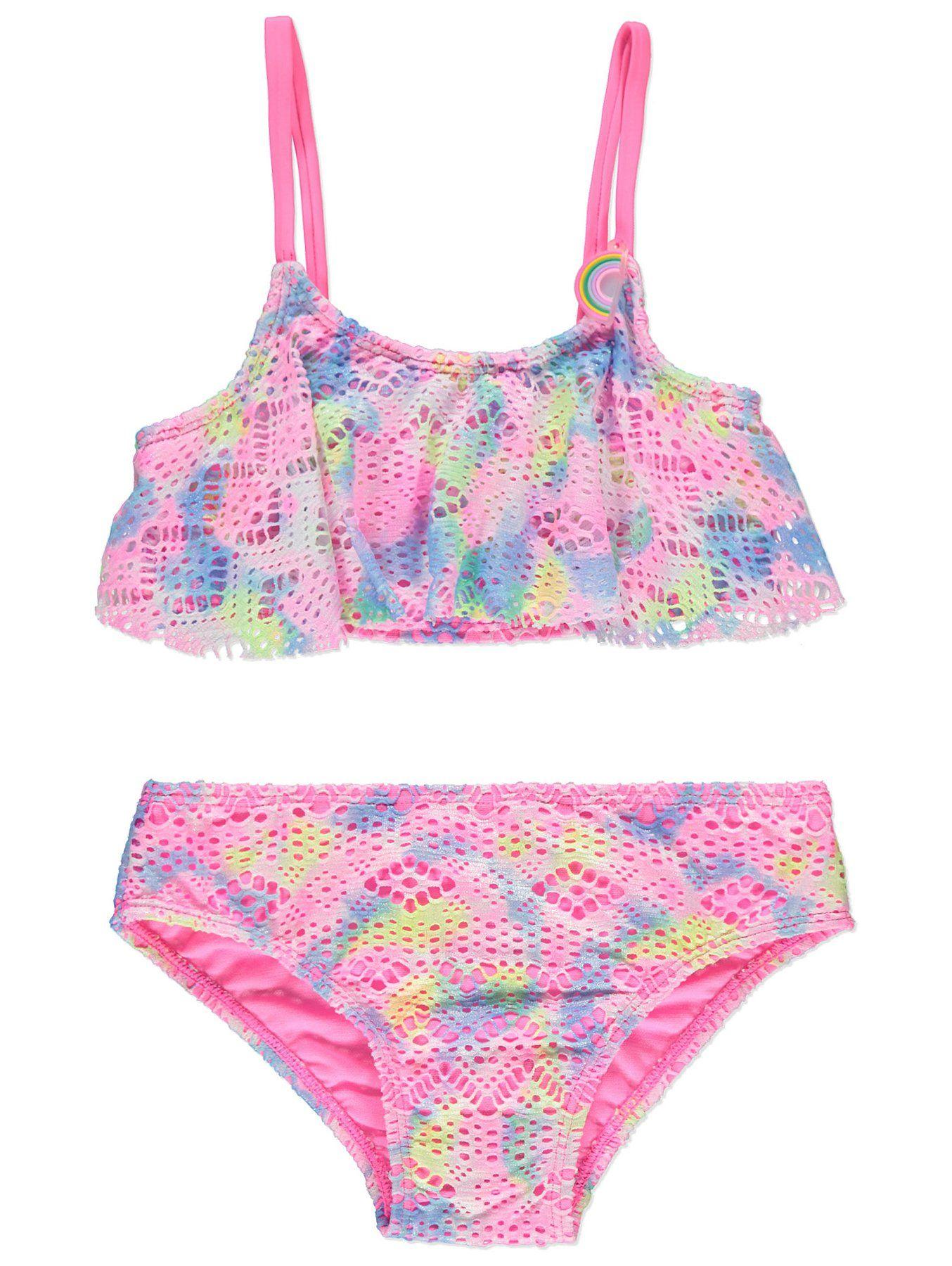 c8ed22161d Pink Shimmering Frill Trim Crochet Bikini Set   Kids   George   Kids ...