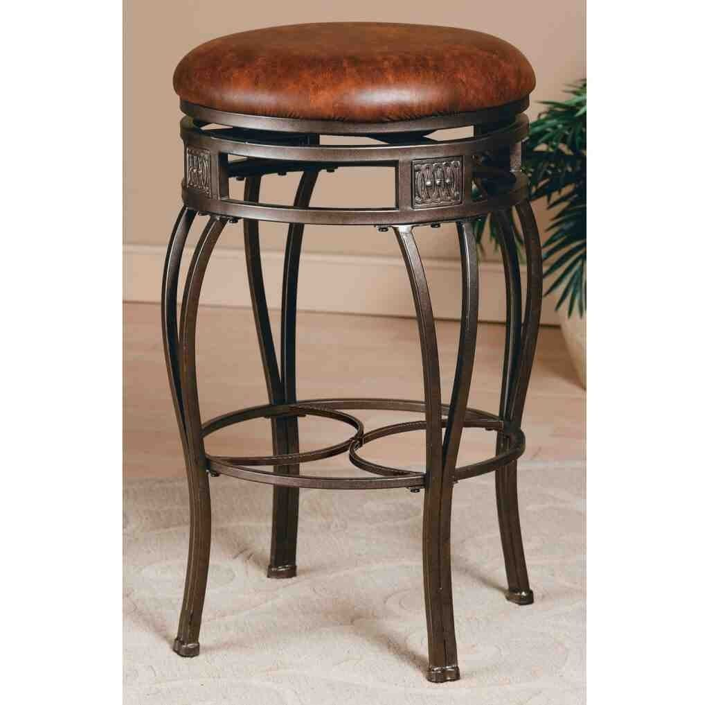 Stunning Montello Brown Round Leather Bar Stool Cushion Backless