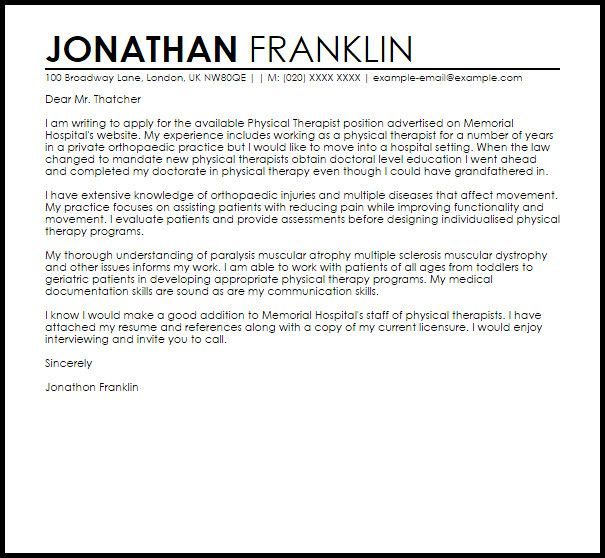 Physical Therapist Cover Letter Template Fresh Physical