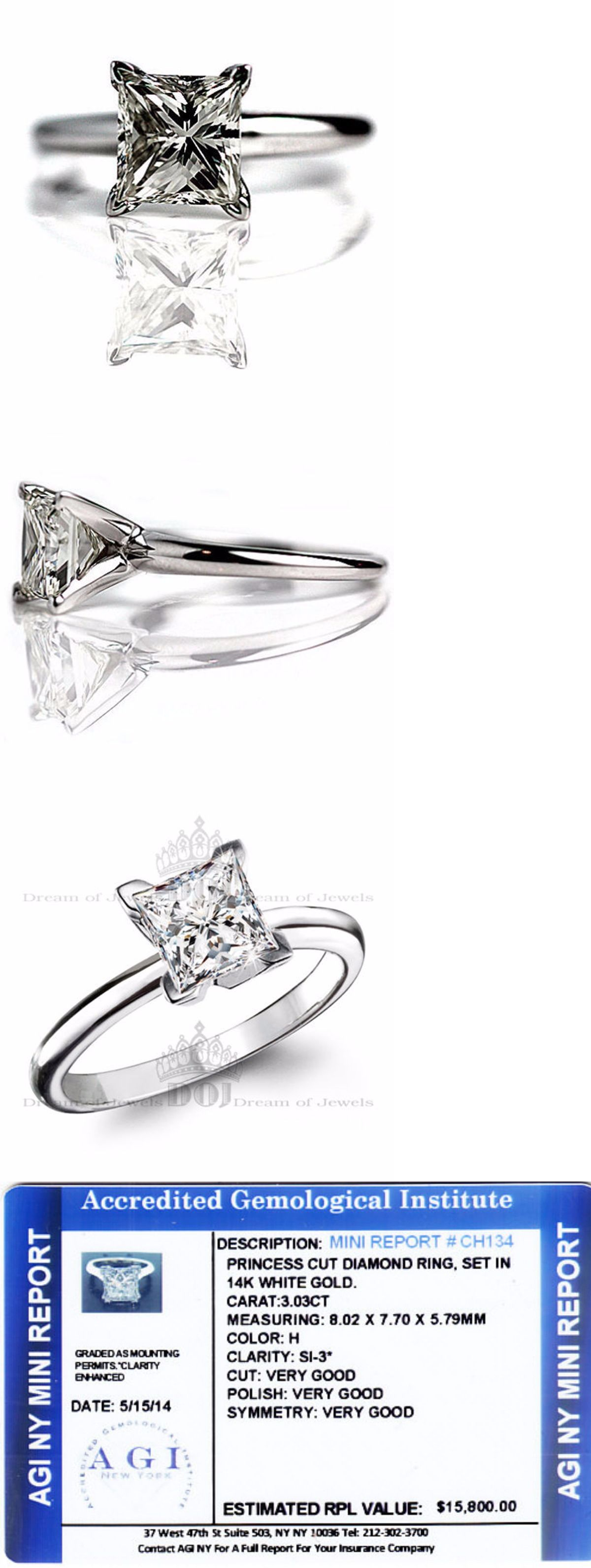 ebay wedding rings sets Wedding rings Princess Cut Diamond Ring 3 04 Carat Set In 14K White Gold Engagement Solitaire
