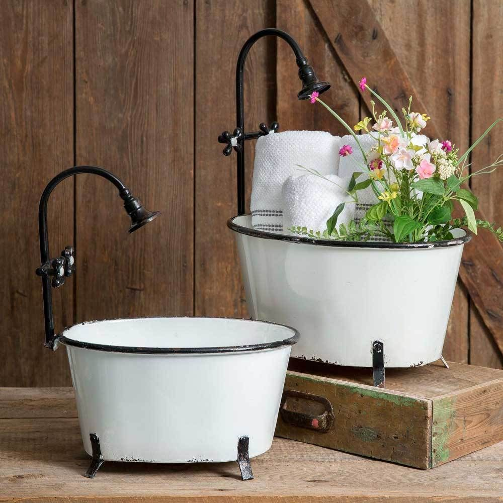 """Chippy White Clawfoot Bathtub French Country Distressed Storage Chic 11.5/"""" Iron"""