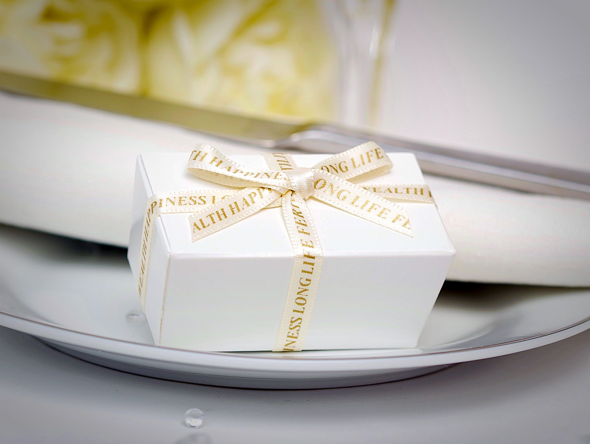 Two Choc Favour Box £2.25. Featuring an ivory satin ribbon printed ...