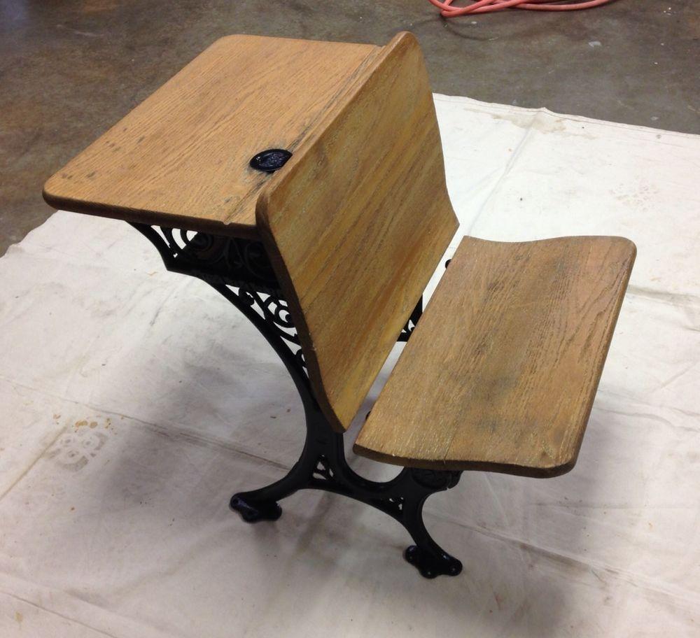 Antique Wabash School Desk With Rare Original Inkwell and Glass - Antique Wabash School Desk With Rare Original Inkwell And Glass