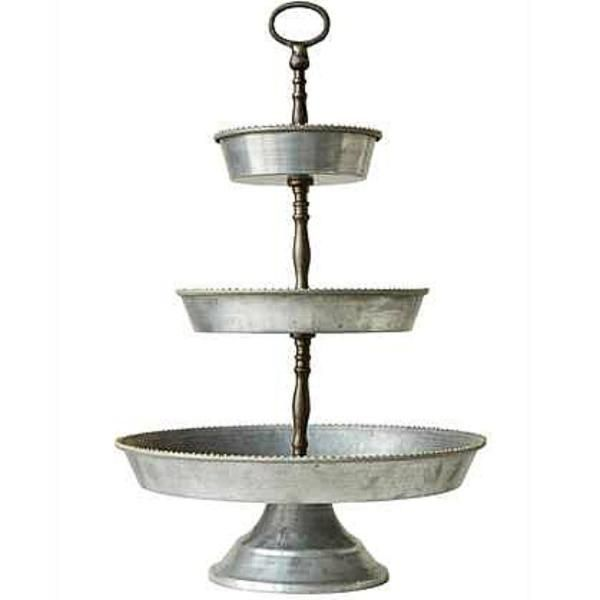 The Victoria Tier Tray Is Sure To Become A Farmhouse Favorite With Its Galvanized Metal Finish And Delica Galvanized Tray Tiered Tray Galvanized Metal Trays