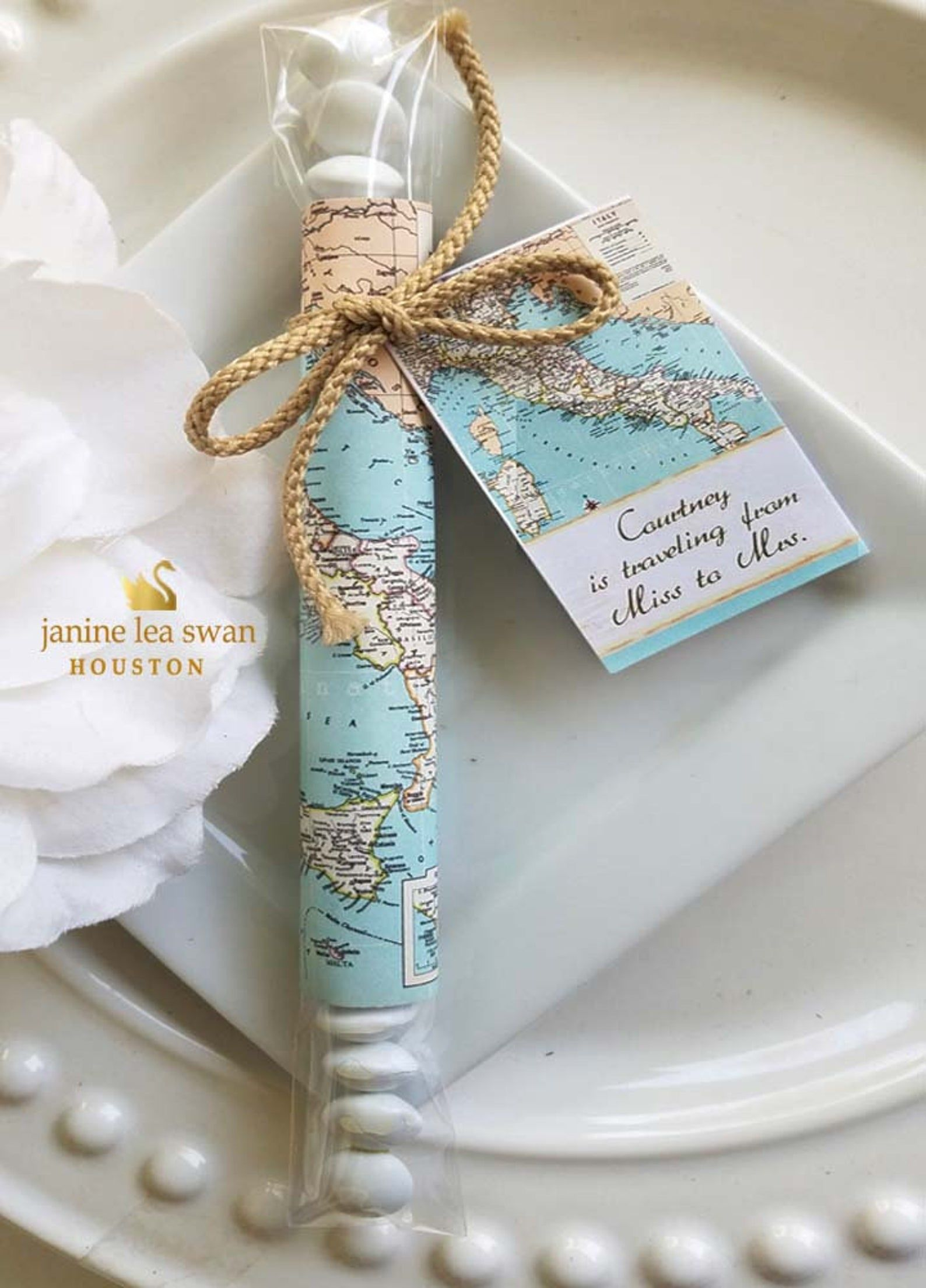 Traveling from Miss to Mrs focus Italy M & Ms Candy Wrap any Italy Map Wedding Favors 40 at 1.00 simple assembly