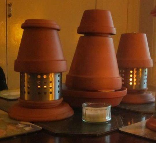 calefaccion velas y macetas