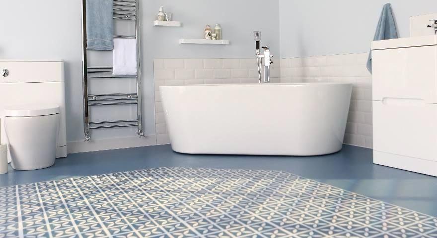 Blue Designer Bathroom Vinyl Flooring Bathroomtilefloorblue Ideas