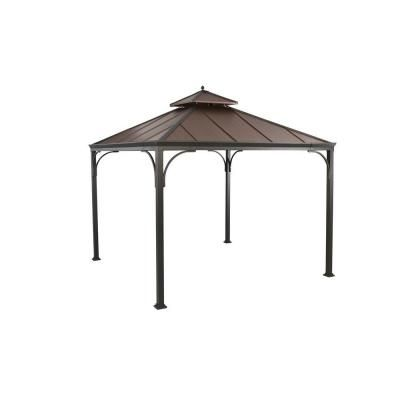 Hampton Bay Haden 10 Ft X 10 Ft Copper Square Steel Hard Top Gazebo L Gz680pst M Hot Tub Gazebo Gazebo Patio Swing