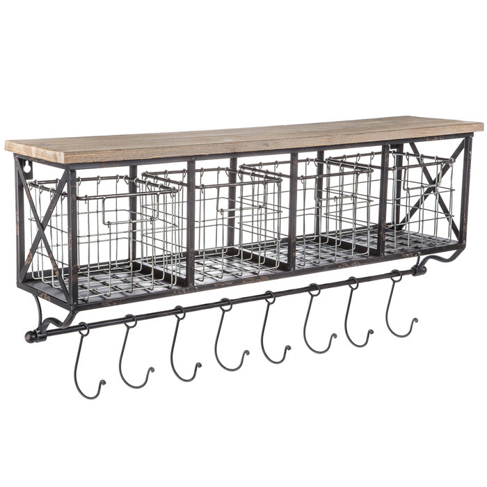 Wall Shelf With Metal Baskets Amp Hooks In 2020 Coffee Bar