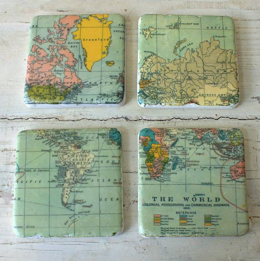 set of four vintage world map coasters by ella james