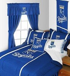 Kansas City Royals Bedding In Official Team Colors Of Royal Blue And White With Logo For