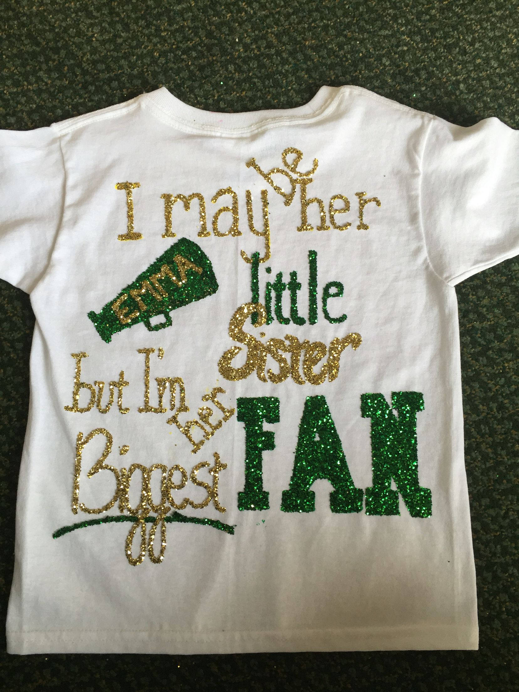 I Made This With Puffy Paint And Glitter You First Paint The Word Sister And Then Sprinkle Glitter And Dry With A Puffy Paint Shirts Puffy Paint Paint Shirts