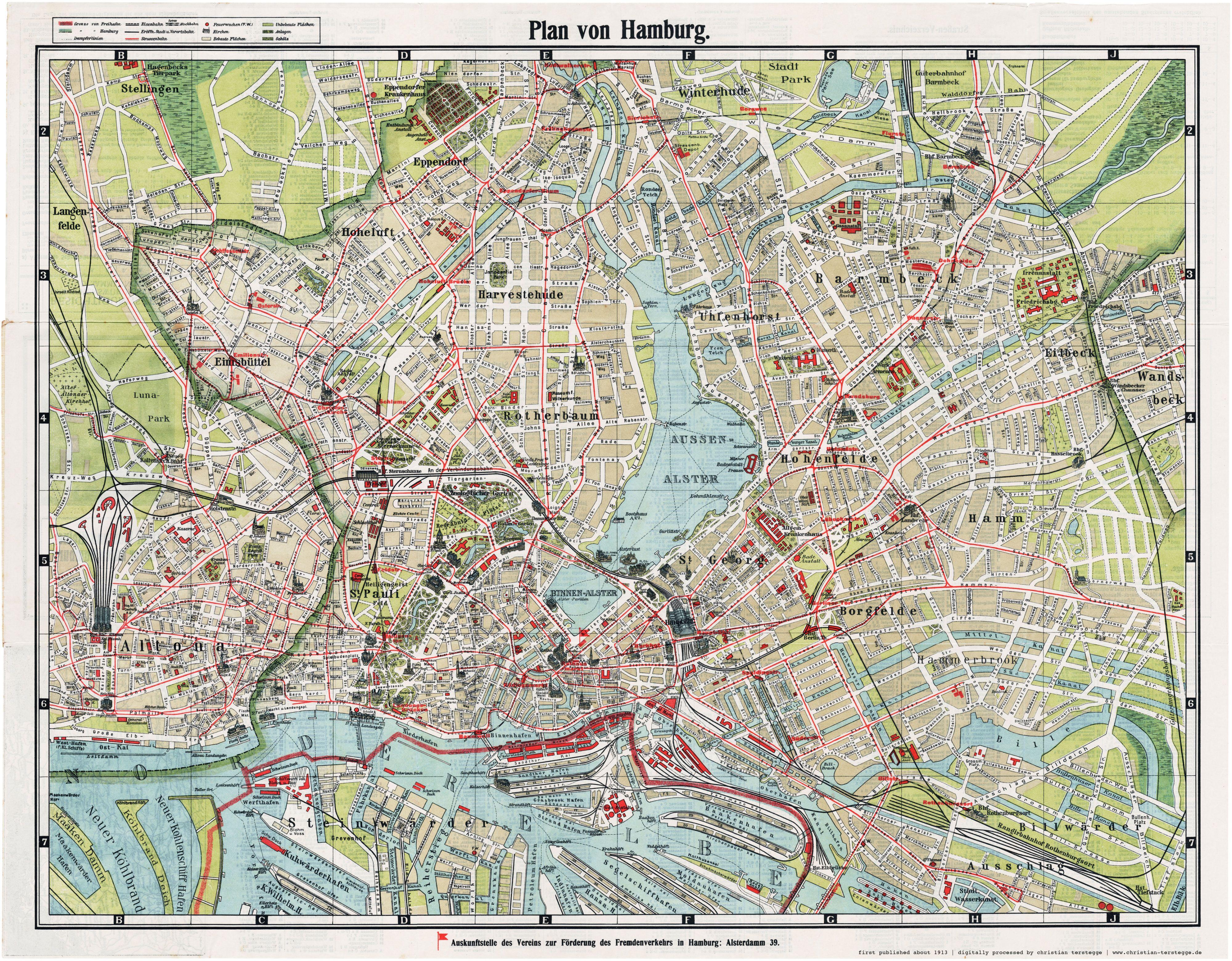 Karte Hamburg 1913 Plan Von Hamburg Auskunftstelle Des Vereins