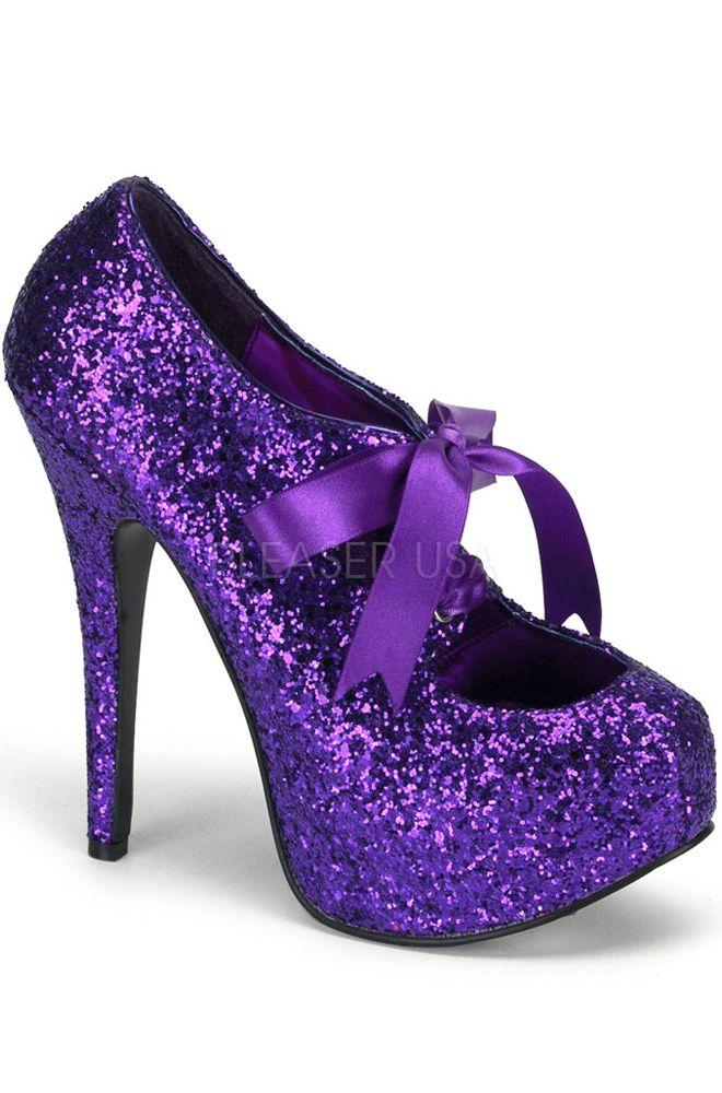 7fb44128581a Bordello Glitter Bow Teeze Shoe (Purple)