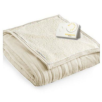 Biddeford Comfort Knit Natural Sherpa Electric Heated Blanket