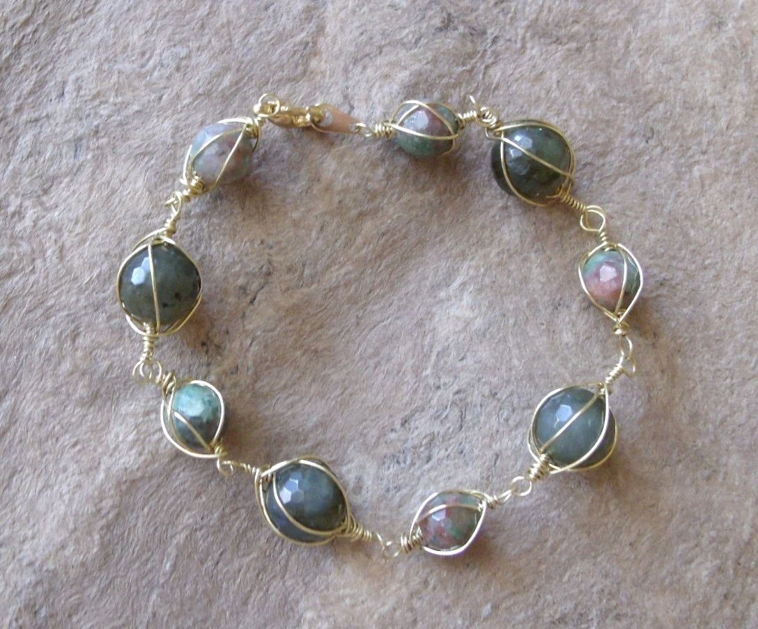 multifaceted labradorite and ruby fuschite bracelet