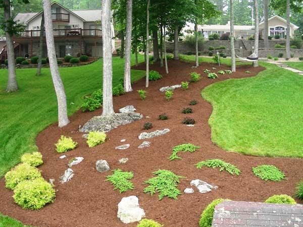 landscaping with boulders and mulch Mulching in landscapes