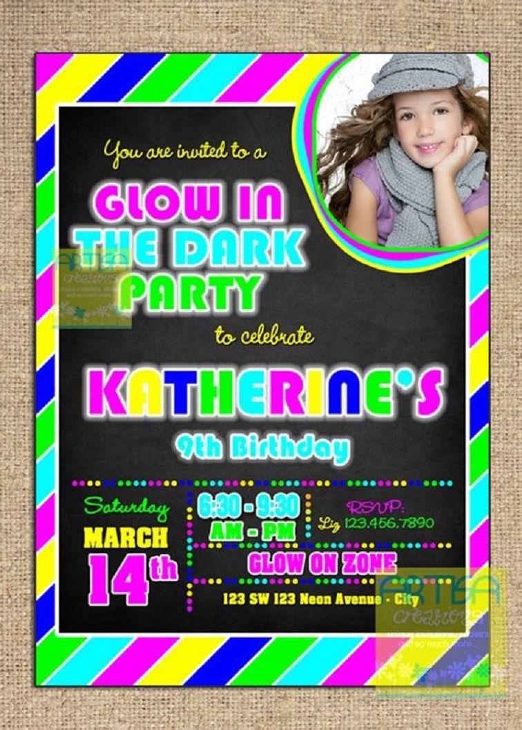 Glow In The Dark Invitations Party City Neon Birthday