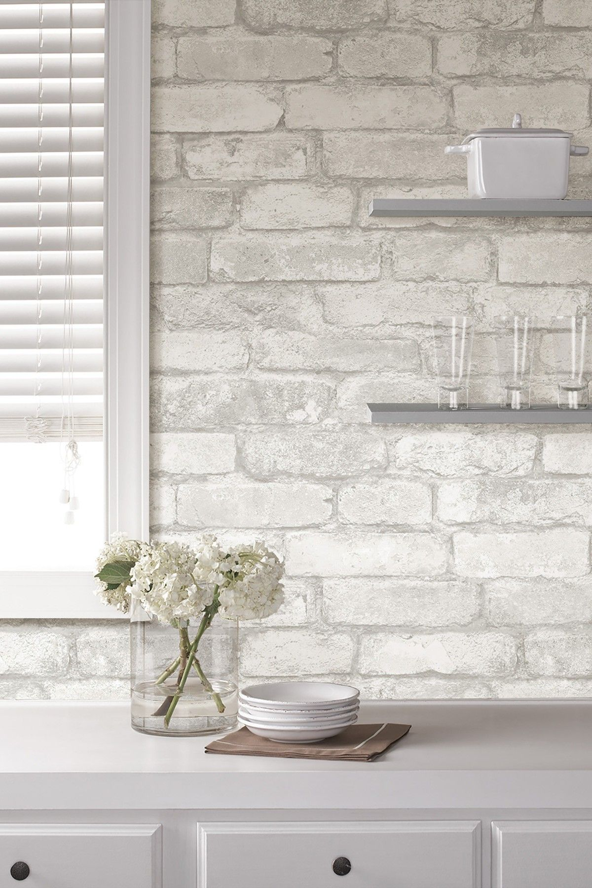 Wallpops Grey White Brick Reusable Peel Stick Vinyl Wallpaper Hautelook Brick Kitchen Brick Wallpaper Kitchen White Brick Backsplash