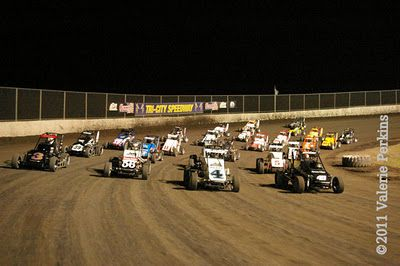 4-wide Midget feature line up, 3rd Annual Gold Crown Midget Nationals, Oct. 8, 2011.