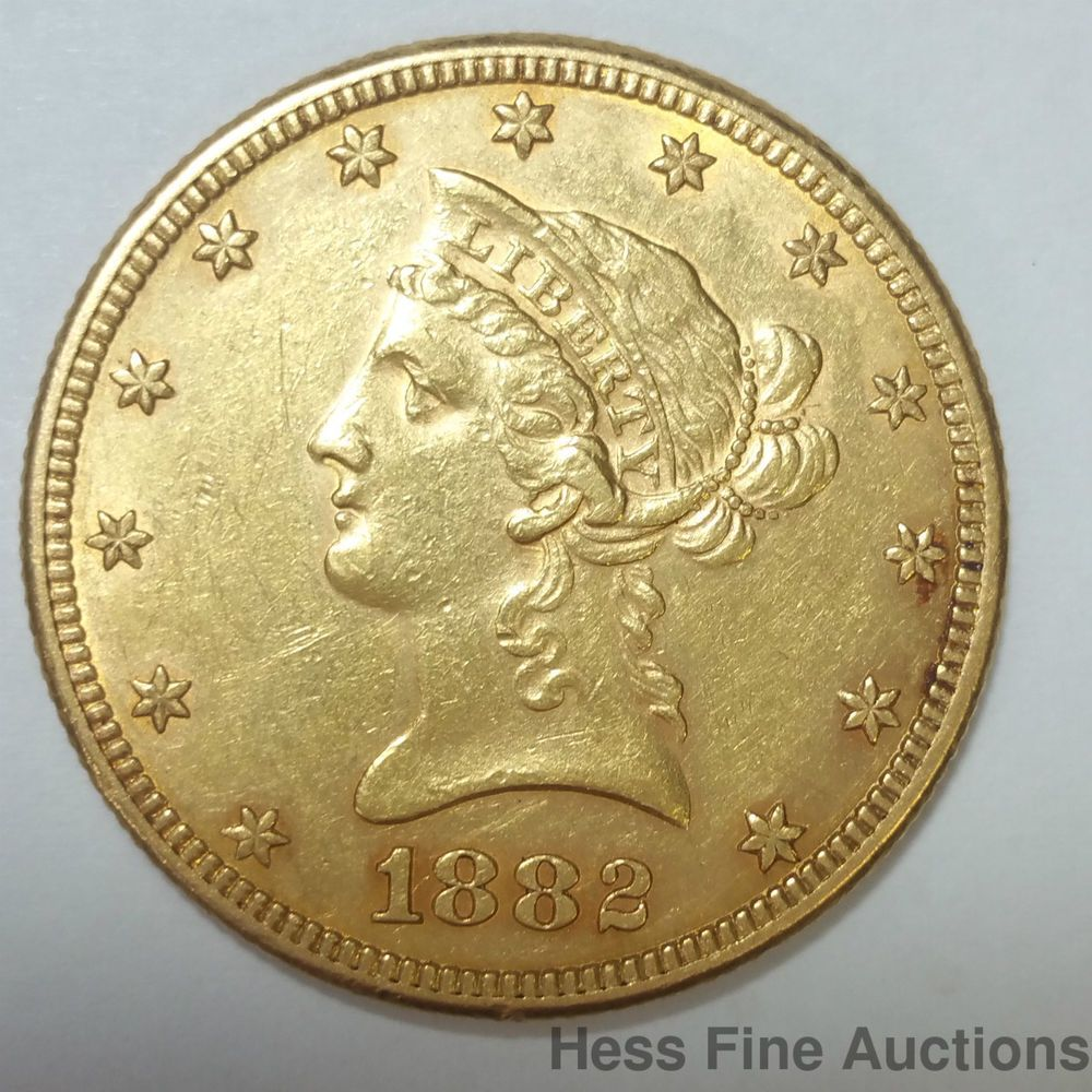 1882 Coronet Eagle 10 Ten Dollar United States American Gold Coin Gold Coins Coins Dollar