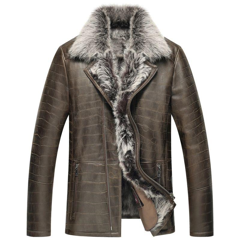$559.2 Leather Jacket Men Shearling Jacket Men's Fur Coats Luxury ...