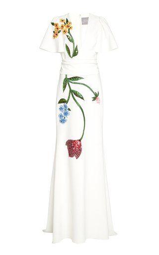 Tie-Detailed Prompts-Print Crepe Midi Dress