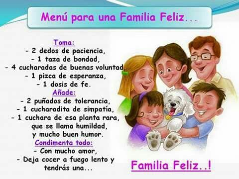 Receta Para Una Familia Feliz Familia Feliz Dia De La Familia Escuela Divertida