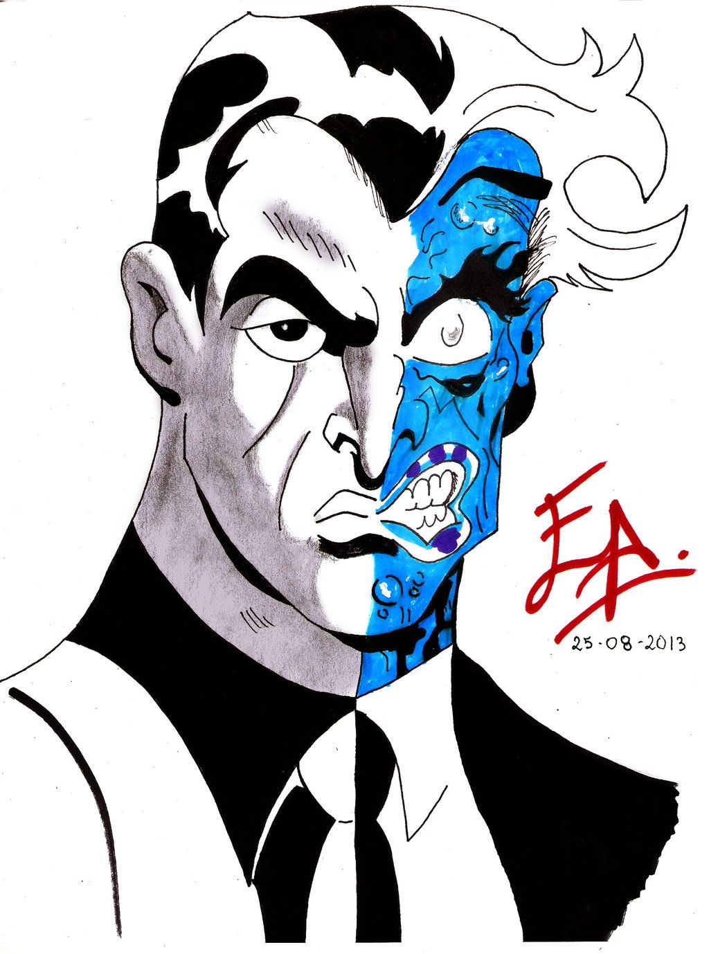 how to draw two face from batman