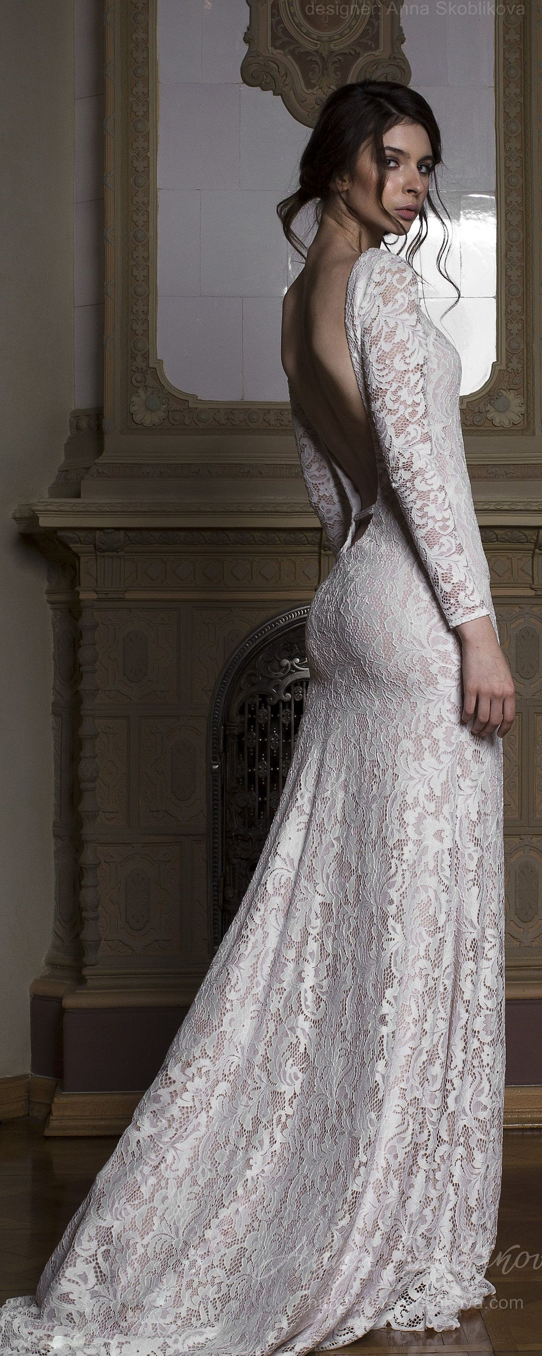 Long sleeve lace wedding dress lace wedding dress backless wedding