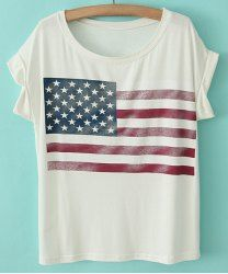 Star Print Stripe Short Sleeve Casual Style Scoop Neck Cotton Women's T-shirt