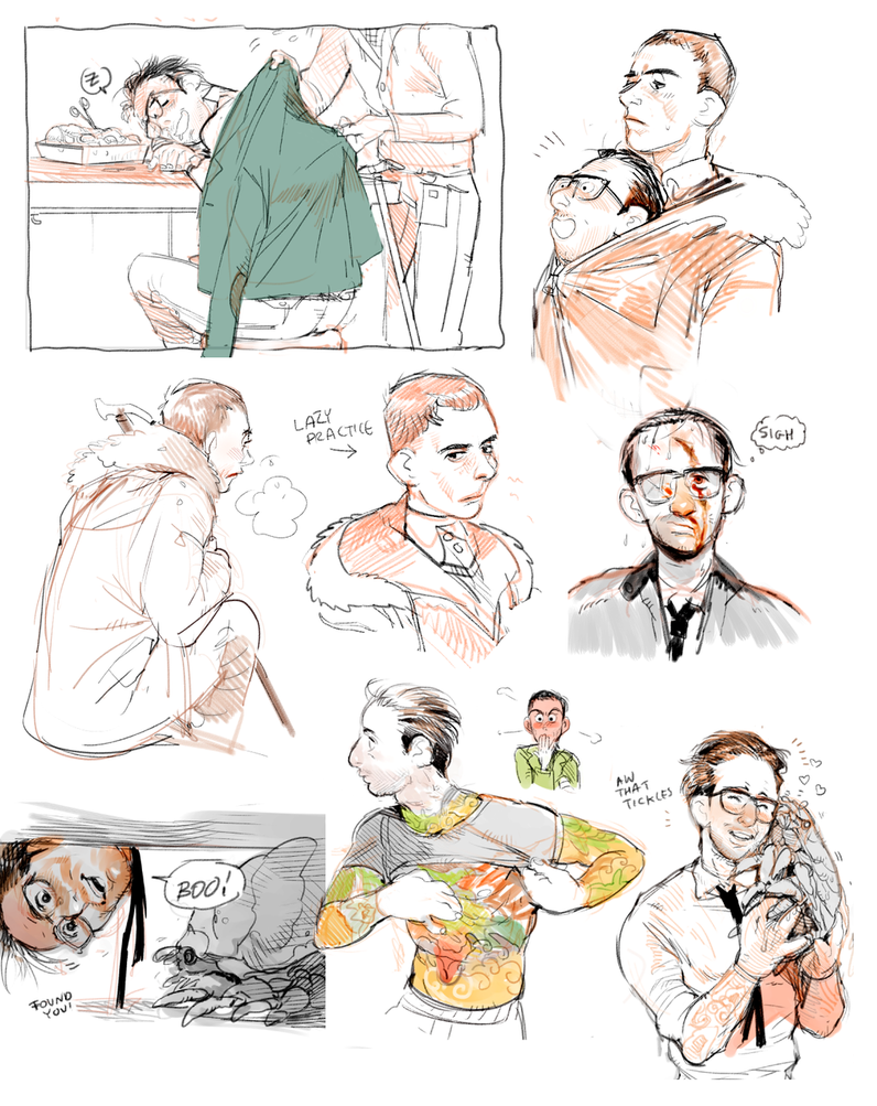 Pacific Rim doodles of Hermann and Newt   Guillermo Del Toro\'s ...