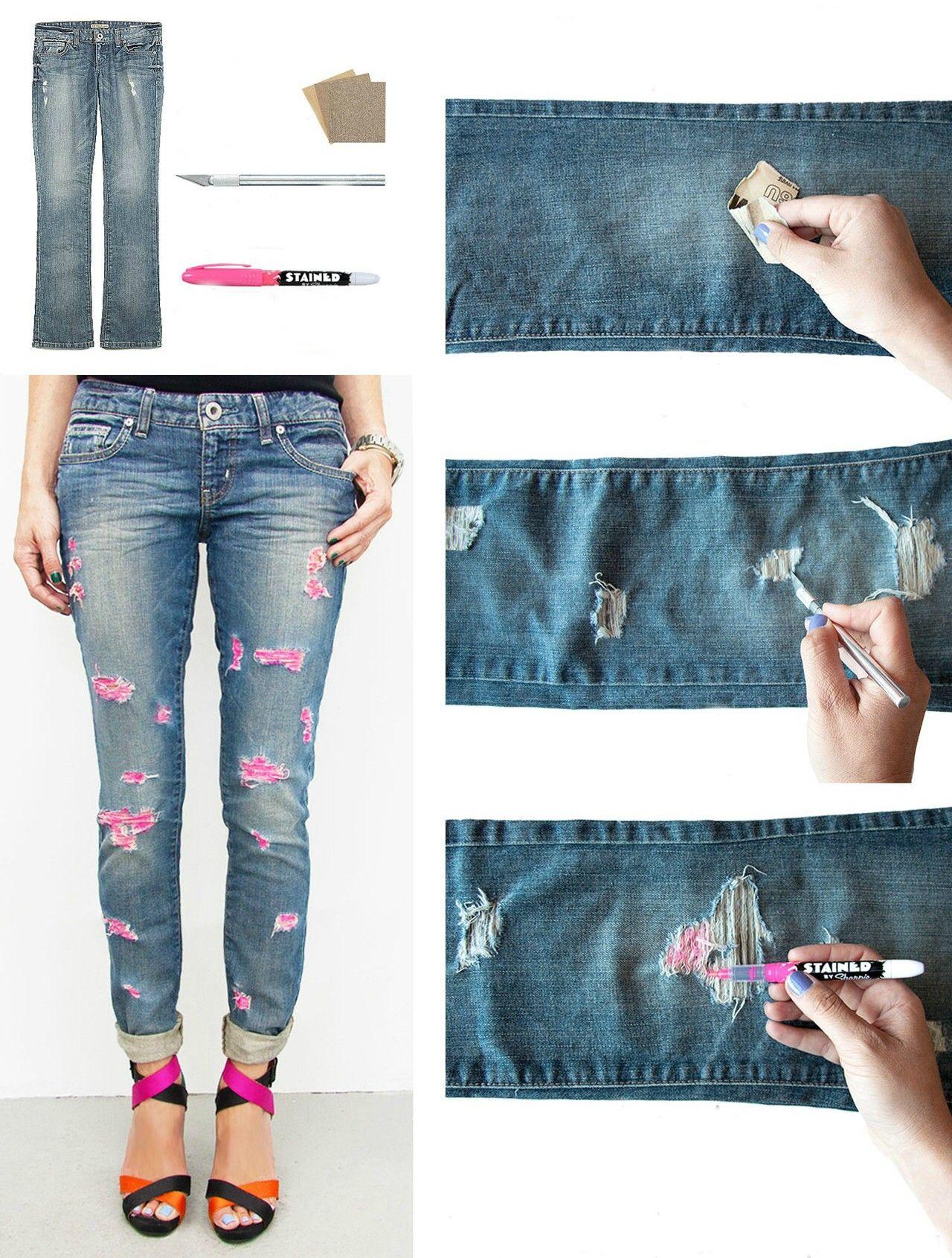 77f672b448 15 Impresionantes maneras de darles un toque especial a tus viejos jeans  favoritos. jeans rotos con colores rosas y plumón sharpie