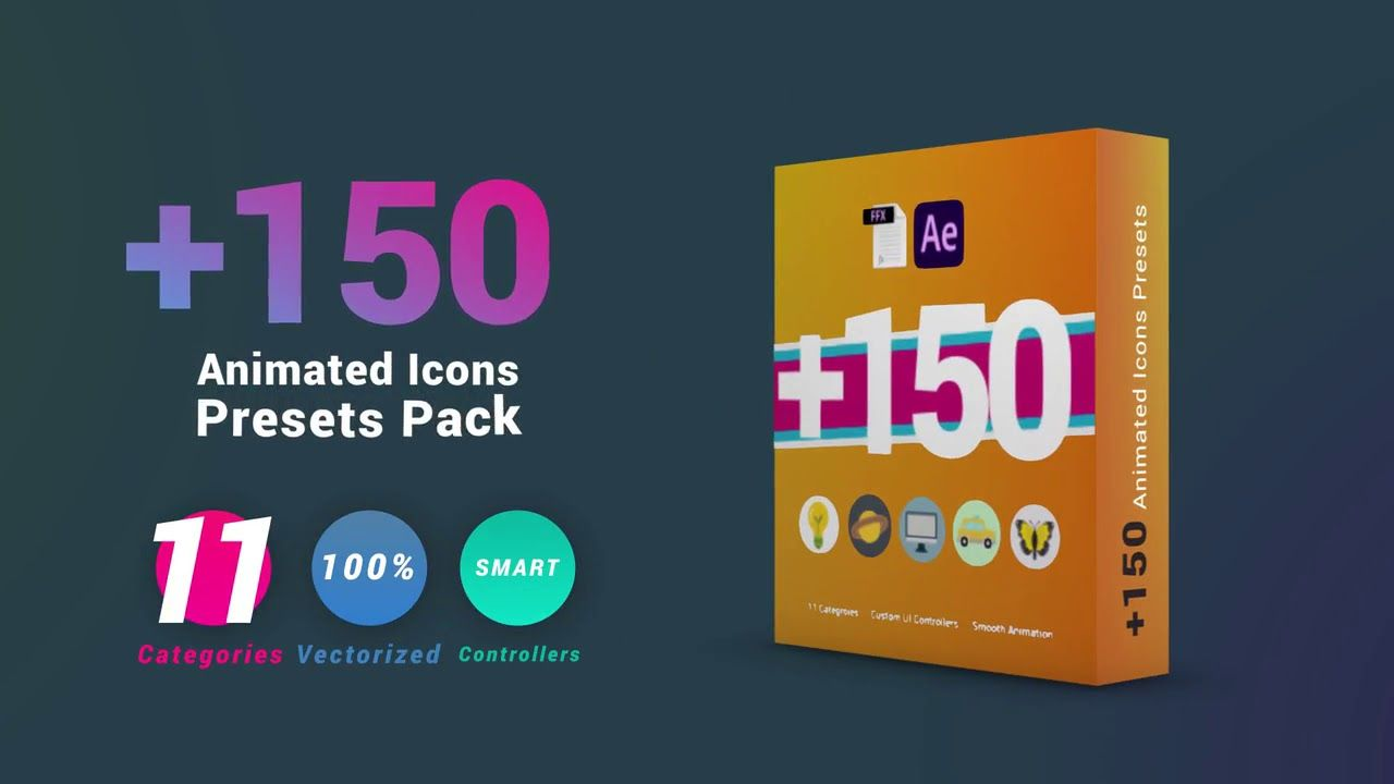 150 Animated Icons Presets Pack After Effects Presets Free