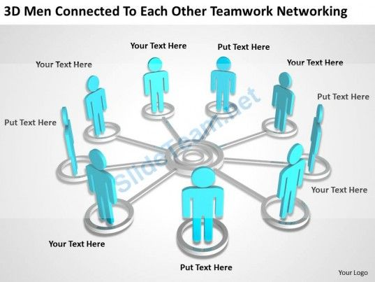 3D Men connected to each other teamwork networking Ppt