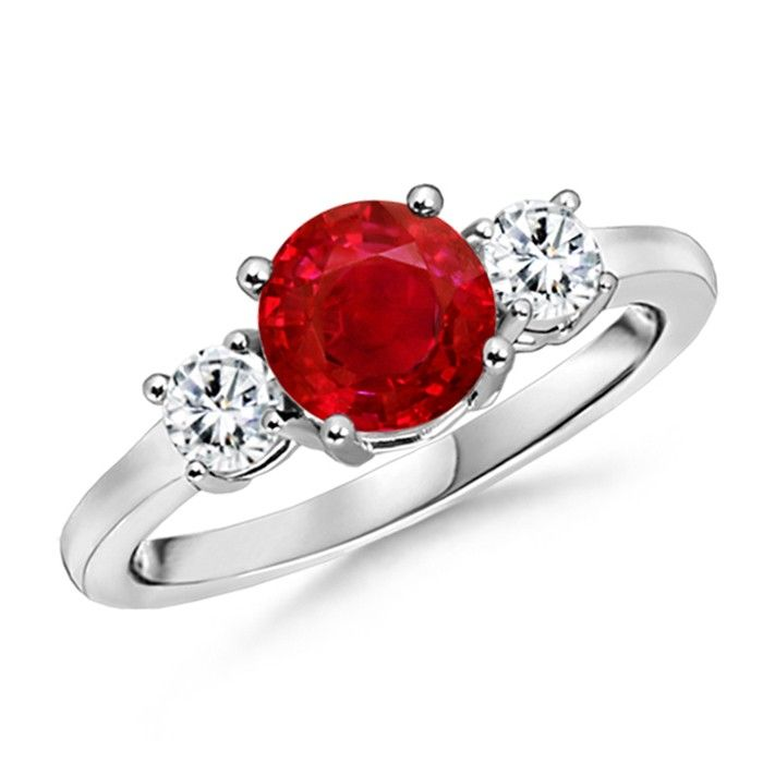 Angara Classy Natural Ruby and Diamond Three Stone Ring in 14k White Gold b0k1L