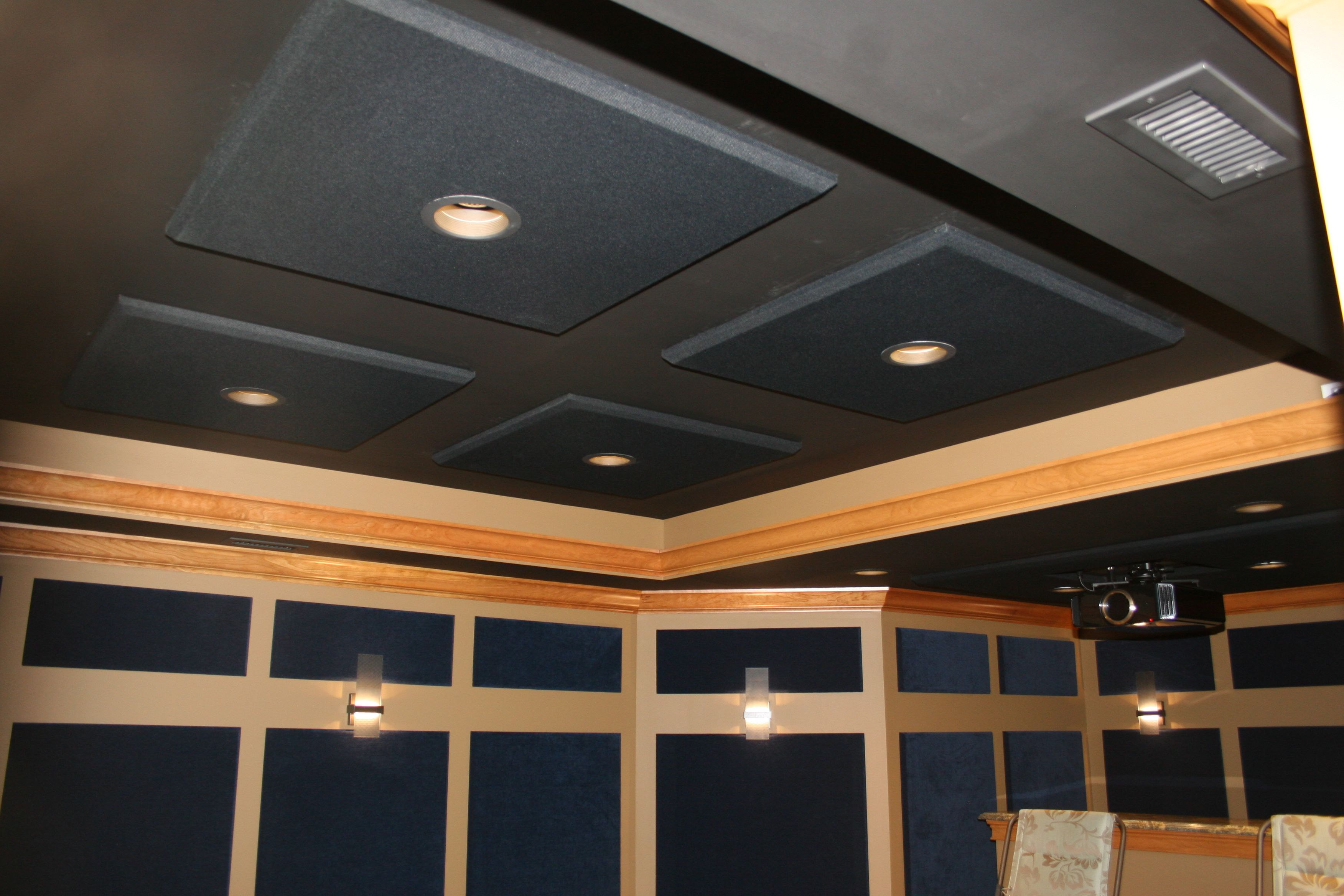 Beautiful custom lighting in this DH Custom Homes, home theater in Chesterfield, MO