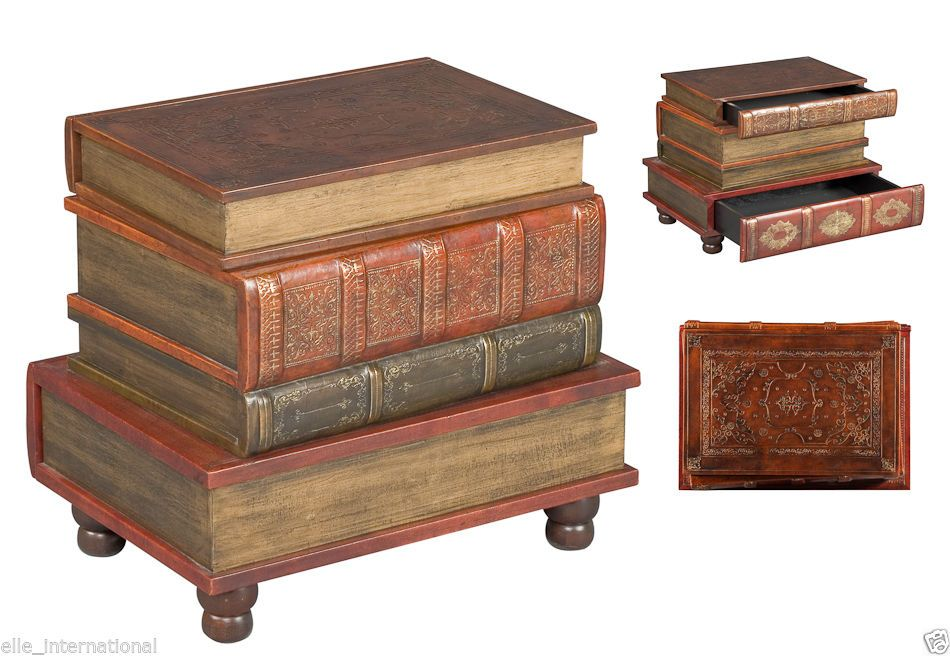 Book Side Accent Table 2 Drawers Leather Wood Fabric Velvet New