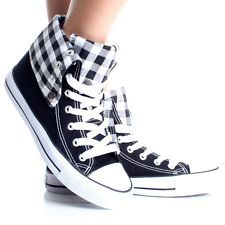 View Item: Womens High Top Sneakers Canvas Skate Shoes White Plaid Lace Up Boots Size 10