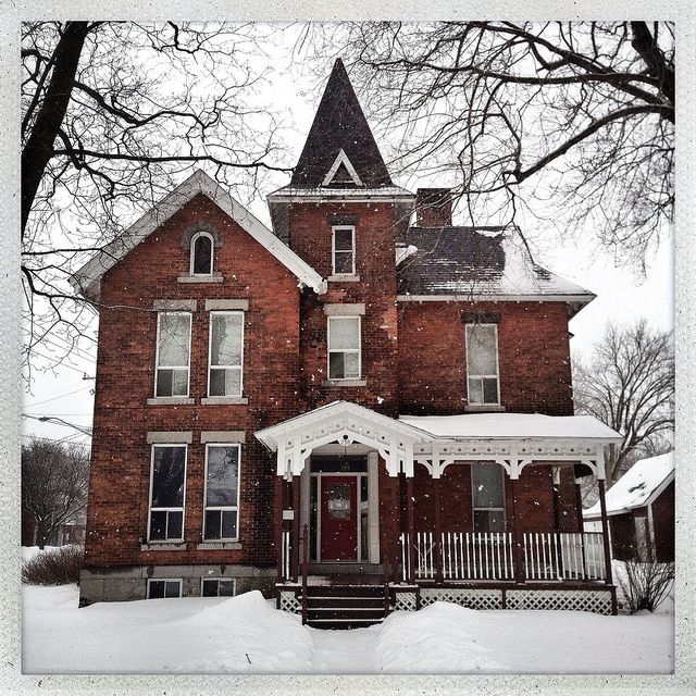 New Brick Homes: Brick Victorian Home In Snow