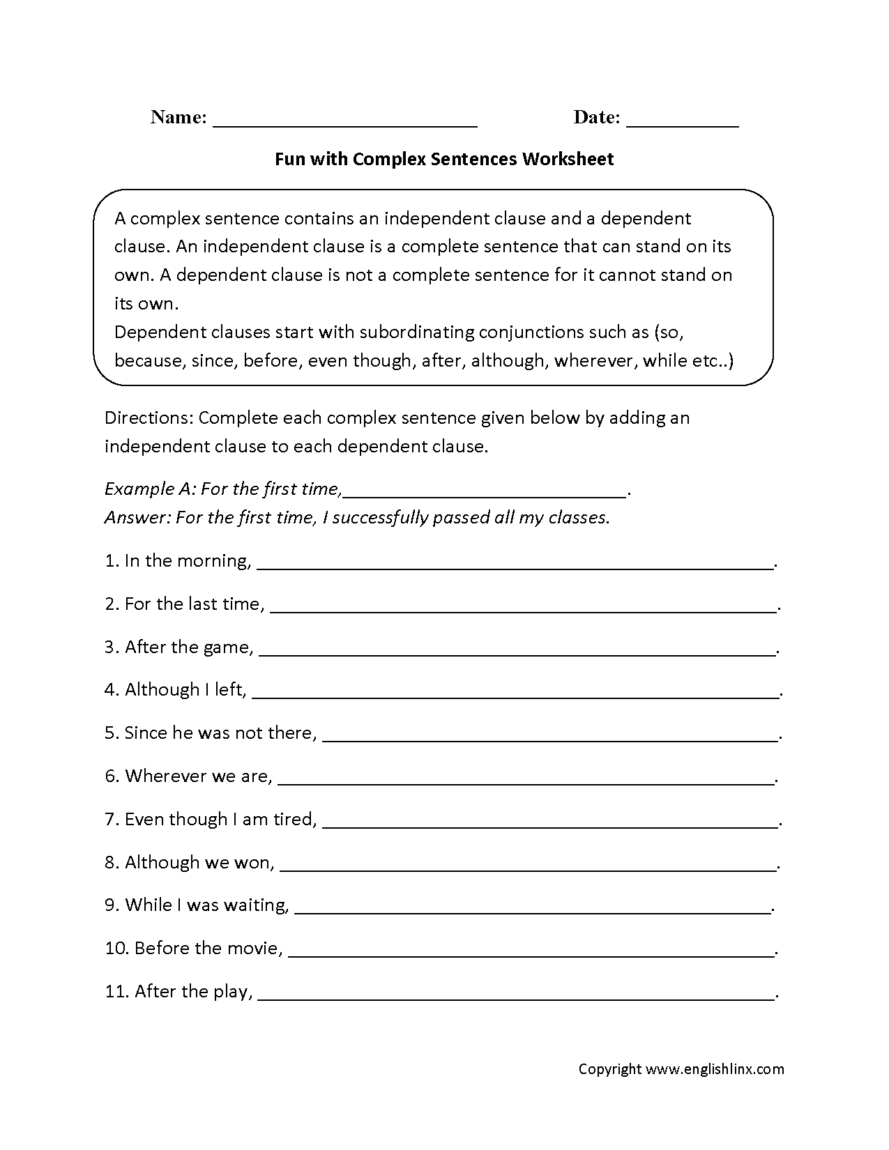 Fun With Complex Sentences Worksheet Sentence Structure