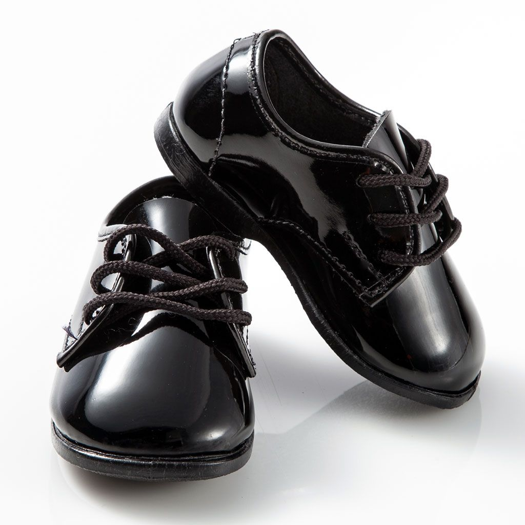 2797a902eb8 Baby Patent Leather Black Infant Tuxedo Shoes