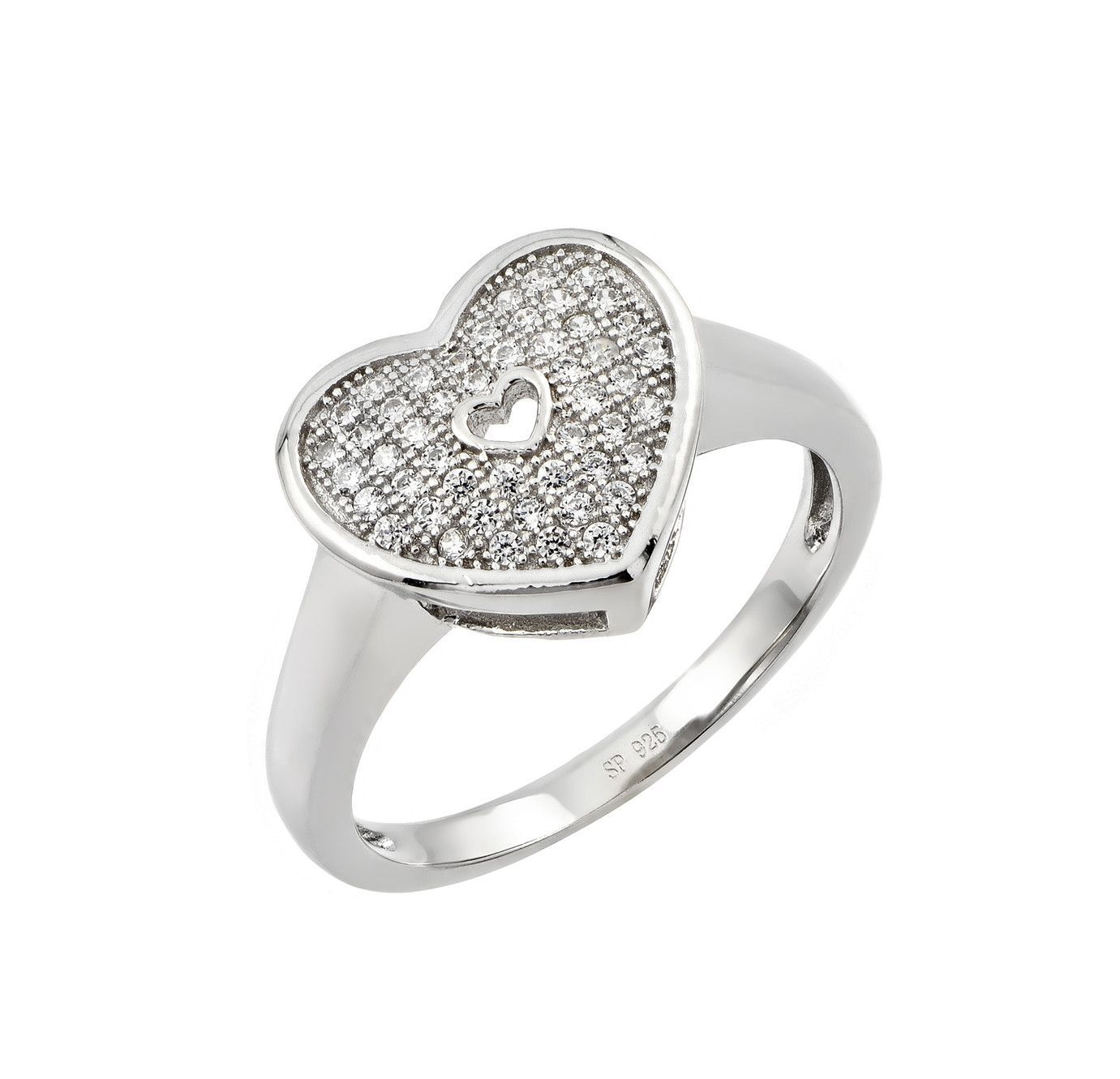 .925 Sterling Silver Rhodium Plated Mirco Pave Heart Cubic Zirconia Ring