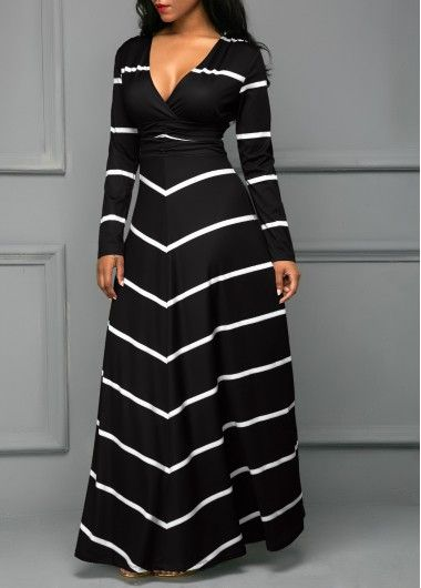 V Neck Long Sleeve Stripe Print Black Dress