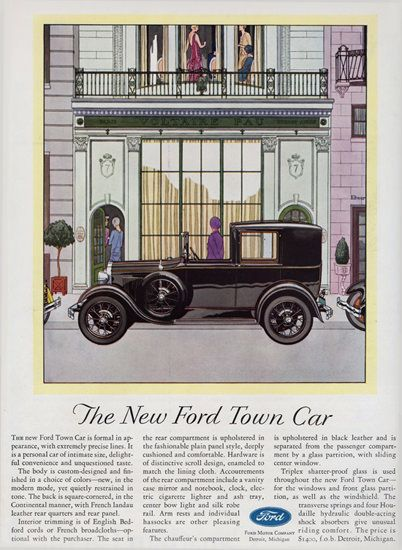 Ford Town Car 1929 Chauffeur Compartment - Mad Men Art: The 1891-1970 Vintage Advertisement Art Collection